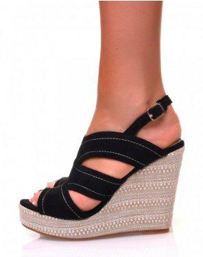 Sandales à talons compensés tressés en suédine noires