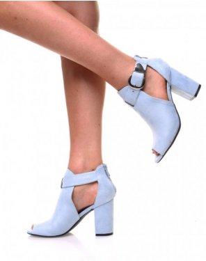 Sandales à talons en suédine bleue