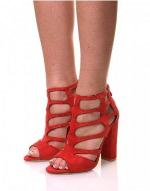 Sandales à talons en suédine rouges