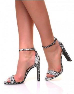 Sandales à talons plats effet python noir