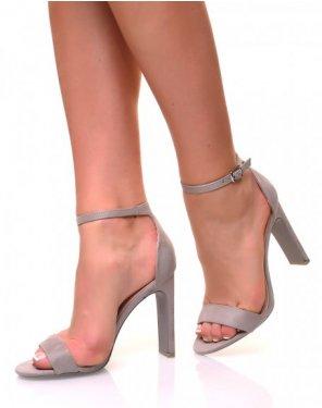 Sandales à talons plats en suédine grise