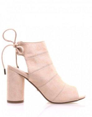 Sandales beiges en suédine à talons ronds