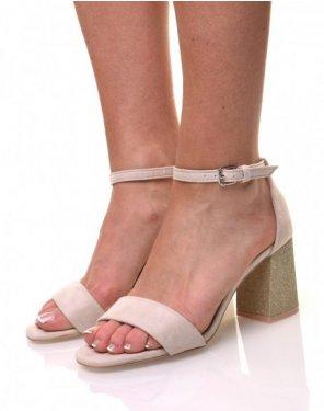 Sandales beiges talons pailletés
