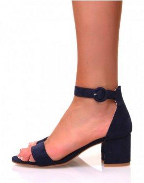 Sandales bleues marines en suédine à talons carrés