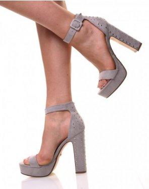 Sandales cloutées à plateformes grises