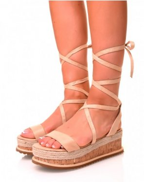 Sandales compensées en suédine beige à lacets