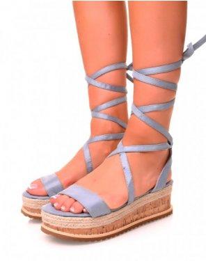 Sandales compensées en suédine bleu à lacets