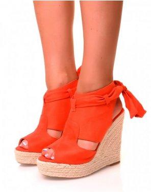 Sandales compensées en suédine oranges vifs