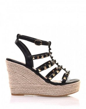 Sandales compensées noires cloutées