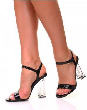 Sandales effet croco à talons carrés transparents