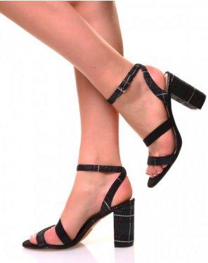 Sandales effet tweed à talons carrés et sangles multiples