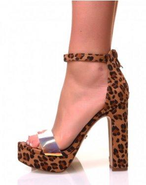 Sandales en suédine à plateforme effet léopard