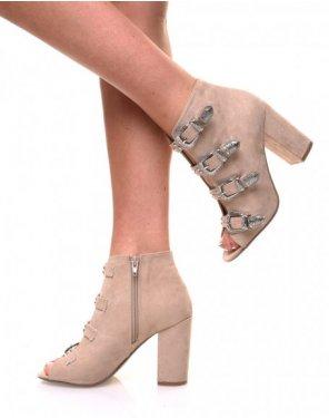 Sandales en suédines ouvertes beiges à talons