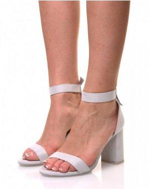 Sandales grises en suédine