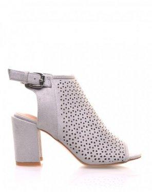Sandales grises perforées à talons mi hauts