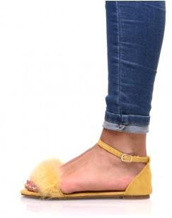 Sandales jaunes en suédine à plumes