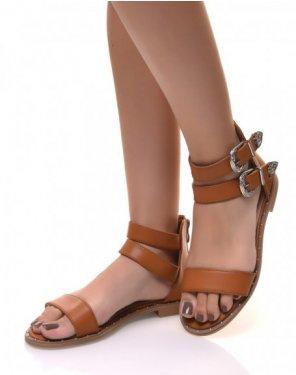 Sandales montantes à boucles camelles