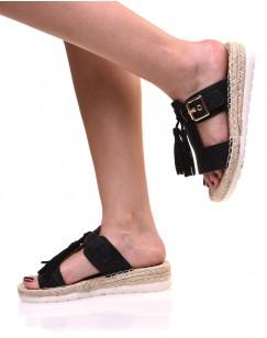Sandales noires à bride et pompons