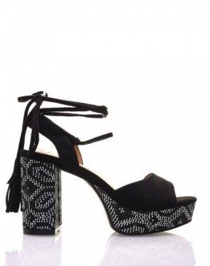 Sandales noires à talon et plateforme tressés