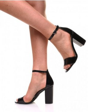 Sandales noires cirées à talons