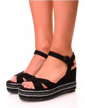 Sandales noires compensées en suédine et à plateforme fantaisie