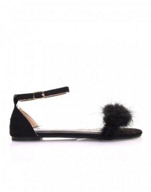 Sandales noires en suédine à plumes