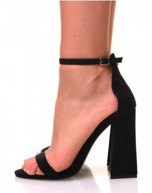 Sandales noires en suédine à talons carrés