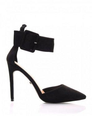 Sandales noires en suédines à bouts pointus