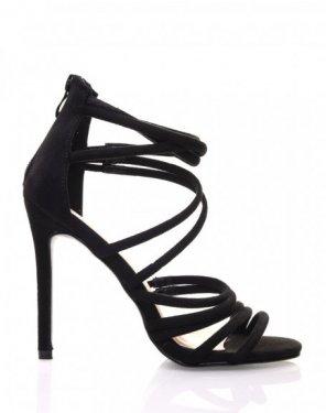 Sandales noires multiples lanières en suédine à talons aiguilles