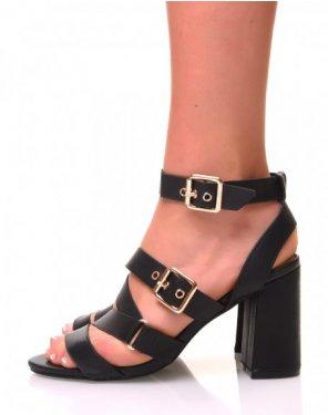 Sandales noires ouvertes à talons carrés