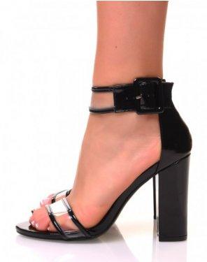 Sandales noires vernies et transparente à talons carrés