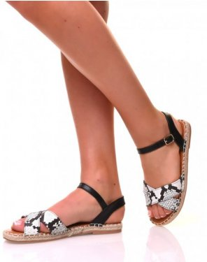Sandales plates effet python