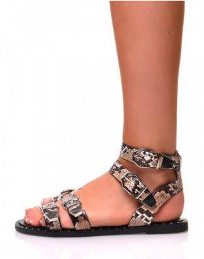 Sandales plates effet python noires à boucles