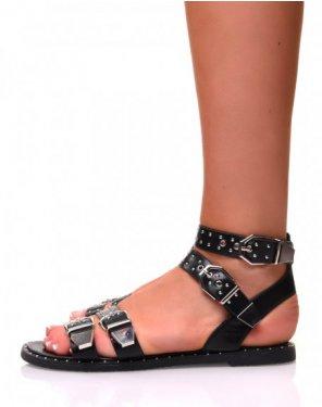 Sandales plates effet simili-cuir noires à boucles
