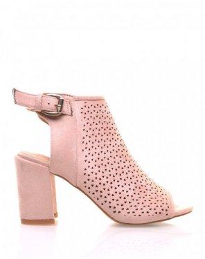 Sandales rose pales perforées à talons mi hauts