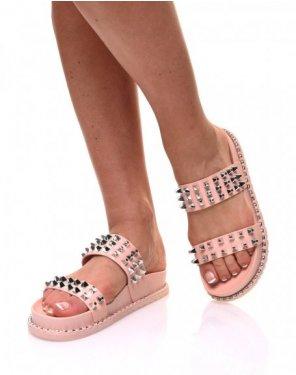 Sandales roses à clous carrés