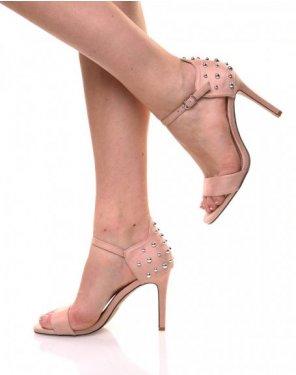 Sandales roses en suédine arrière clouté