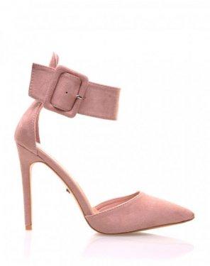 Sandales roses en suédines à bouts pointus
