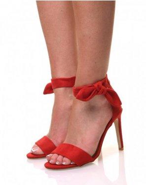 Sandales rouges en suédine bout ouvert