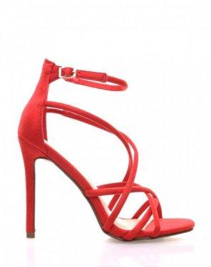 Sandales rouges lanières croisées et à talons aiguilles