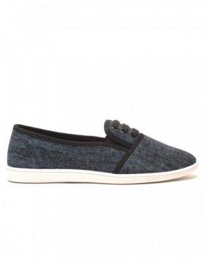 Slipper noir jeans lacé