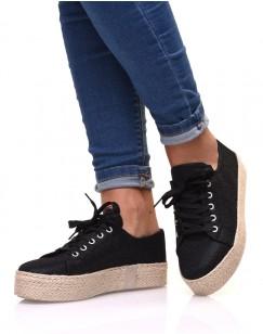 Sneakerdrilles noires à paillettes