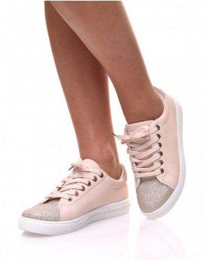 Sneakers bi matières abricot pailletés