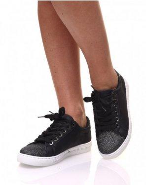 Sneakers bi matières noirs pailletés