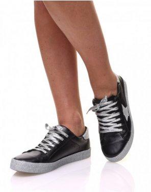 Sneakers noires à paillètes grises