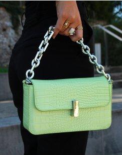 Apple green croc-effect chain shoulder bag