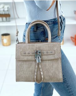 Beige croc-effect bag with multiple pockets