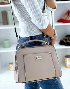 Beige double pocket satchel style handbag