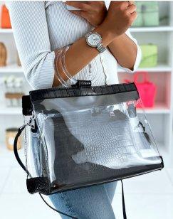Black and transparent croc-effect tote bag