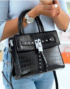 Black croc-effect bag with multiple pockets